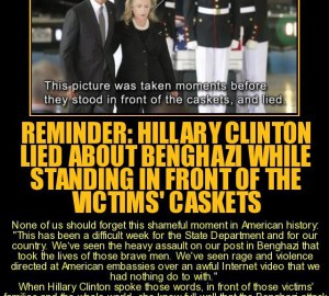 hillary in front of caskets lying