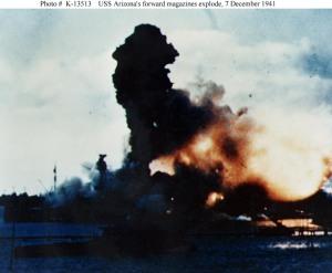 USS Arizona forward magazines explode - k13513