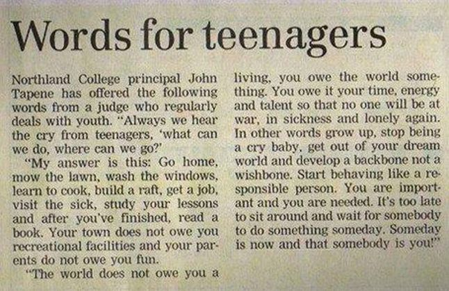 what to say to teenagers